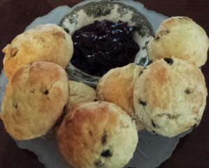 Scones, or hockey pucks in the making. Give them a day, and they're done!